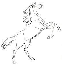 mustang horse drawing free rearing horse lineart by shikumeka on deviantart
