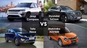 mahindra jeep jeep compass vs hyundai tucson vs tata hexa vs mahindra xuv 500