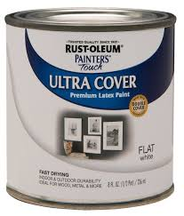 rust oleum 1990730 painters touch latex 1 2 pint flat white