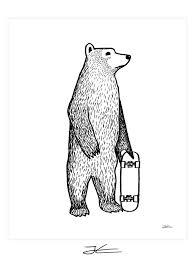 skate bear art print jonas claesson shop