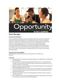 Job Description Of A Barista For Resume by Starbucks Manager Job Description