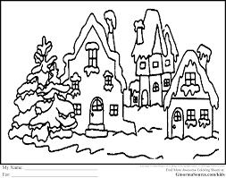 santas sleigh reindeer free coloring christmas village