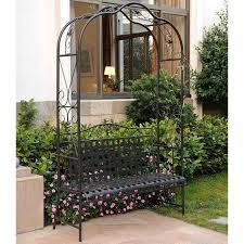 amazon com mandalay iron patio arbor bench in antique black