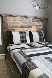 How To Make A King Size Platform Bed With Pallets by Diy Planked Headboard Shanty 2 Chic
