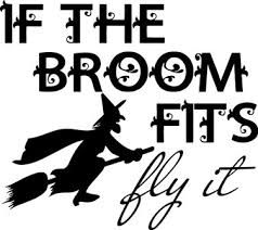 if the broom fits fly it halloween vinyl decal home decor