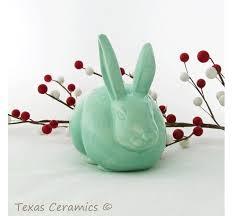 bunny cotton holder ceramic bunny cotton holder in sea glass green for bathroom