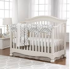Easton 4 In 1 Convertible Crib Easton 4 Gray And Taupe Crib Bedding With Linen Skirt