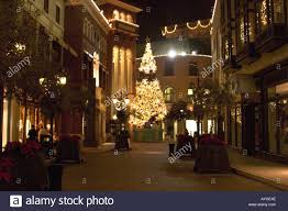 beverly hills christmas lights night view of via rodeo beverly hills los angeles california stock