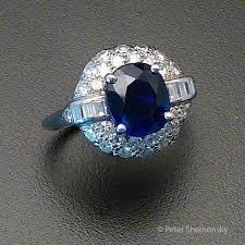 art deco sapphire diamond and platinum ring peter jon shemonsky