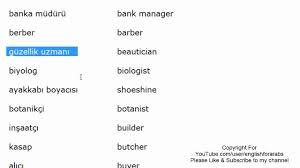 Beautician Jobs Jobs Names In Turkish Part 2 Turkish For Beginners Youtube