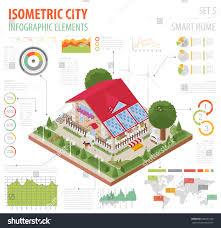 flat 3d isometric smart home city stock vector 588231290