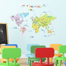 World Map Wall Sticker by Decowall Dw 1203 Multicoloured World Map Kids Wall Stickers Wall