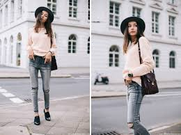 Forever 21 Ripped Jeans Ripped Knee Jeans U0026 Pale Pink Knit