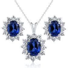 sapphire earrings necklace set images 5 24 ct oval simulated sapphire 925 sterling silver pendant and jpg