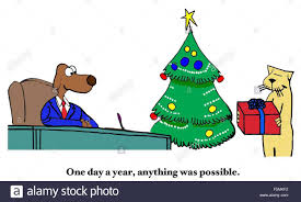 christmas cartoon of business cat giving a christmas present to