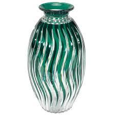 Deco Vase Monumental Val St Lambert Handblown Crystal Art Deco Vase For