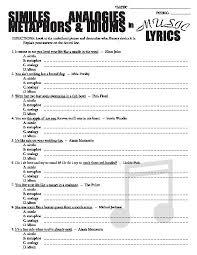 teacherlingo com 1 39 poetry in music lyrics metaphors