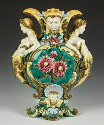 german majolica vase19th cent sgn schutz gilli tin glaze