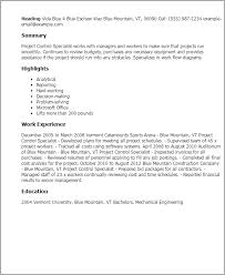 Inventory Specialist Resume Sample by Professional Project Control Specialist Templates To Showcase Your