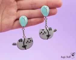 pusheen earrings pusheen earrings etsy