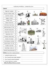 vocabulary matching worksheet landmarks u0026 icons english