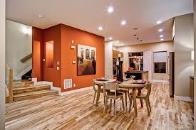 Burnt Orange Accent Wall Dining Room Midcentury With Orange Wall - Burnt orange dining room