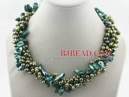 green pearls necklace images Multi strands dyed green freshwater pearl and teeth shape green jpg