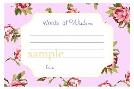 words of wisdom cards for bridal shower purple words of wisdom cards advice cards for bridal