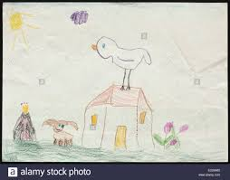 original child u0027s drawing of a bird on the house and a dog and a