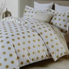 nicole miller large polka dot 3pc queen duvet set gold on white