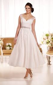 tea length wedding dresses uk cap sleeves chic lace organza tea length a line wedding dress