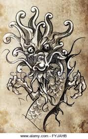 japanese dragon tattoo sketch handmade design over vintage paper