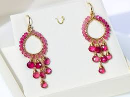 pink earrings rubellite pink tourmaline chandelier earrings in gold filled wire