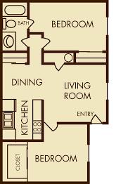2 Bed 2 Bath House Plans Apartment Attractive 2 Bedroom 1 Bath Apartment Floor Plans
