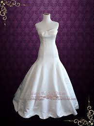 fit and flare satin wedding dress with sweetheart neckline