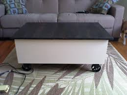 ana white coffee table with storage based on the factory cart
