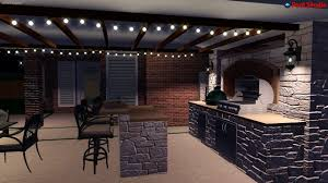 traditional style outdoor kitchen option 1 night time walk