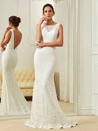 lace mermaid wedding dress modern scoop neck open back lace mermaid wedding dress 12737900