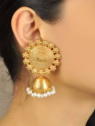 jhumka earrings buy floral temple golden jhumka earrings online at jaypore