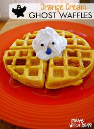 orange cream ghost waffles recipe halloween breakfast waffle