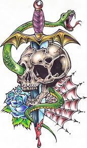skull dagger with snake tattoo design tattoos book 65 000
