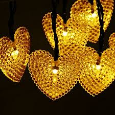 valentines day lights dephen solar warm white chirstmas lights 20ft 30 led