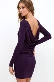 purple dress sleeve dress backless dress 34 00