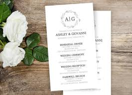 wedding ceremony cards wedding itineraries 25 simple wedding schedule wedding