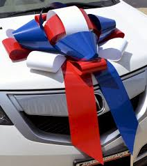 car ribbon patriotic white blue magnetic car bow golden openings