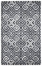 Black And White Modern Rug by Handmade Wool Viscose Modern Black Gray 5x8 Lt1071 Area Rug