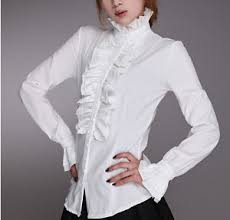 vintage blouse high neck frilly button womens vintage ruffle top