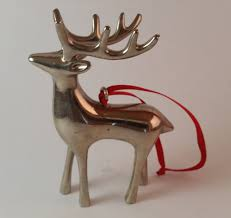 vintage silver plated pottery barn reindeer ornament with