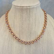 rose gold crystal necklace images Blush swarovski crystal rose gold princess length necklace set jpg
