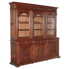 french antique carved bookcase bibliotheque with glass doors at